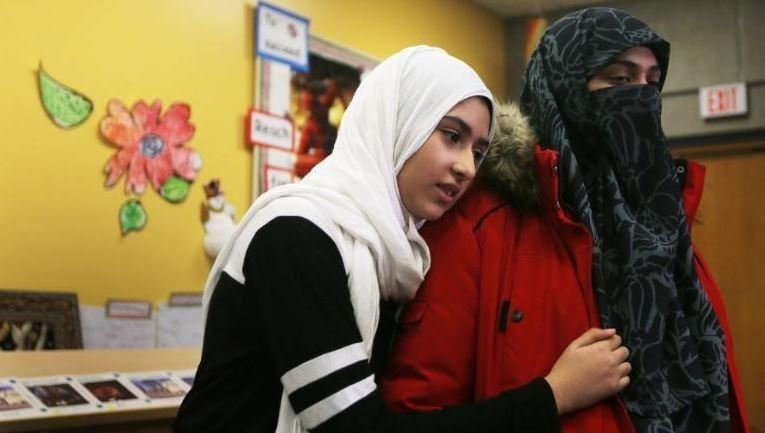 A man in Toronto tried to cut off an 11-year-old girl's hijab on her way to school.  Authorities are investigating the incident as a hate crime.   CREDIT: Steve Russell/Toronto Star/Getty Images