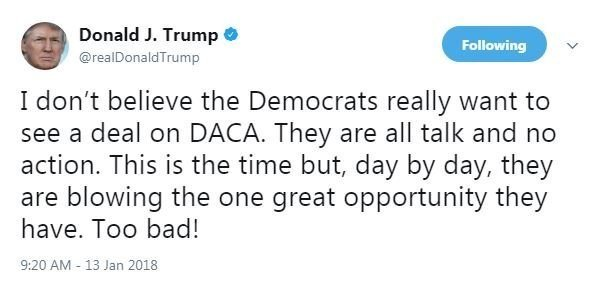 President Donald Trump blamed Democrats for stalled immigration negotiations on Twitter as he deals with backlash over vulgar comments he made in the Oval Office.