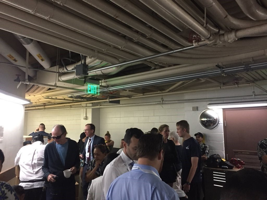 "Guests at the Grand Hyatt Kauai Resort huddle in a basement after a false alert was sent out about a ""missile strike."""