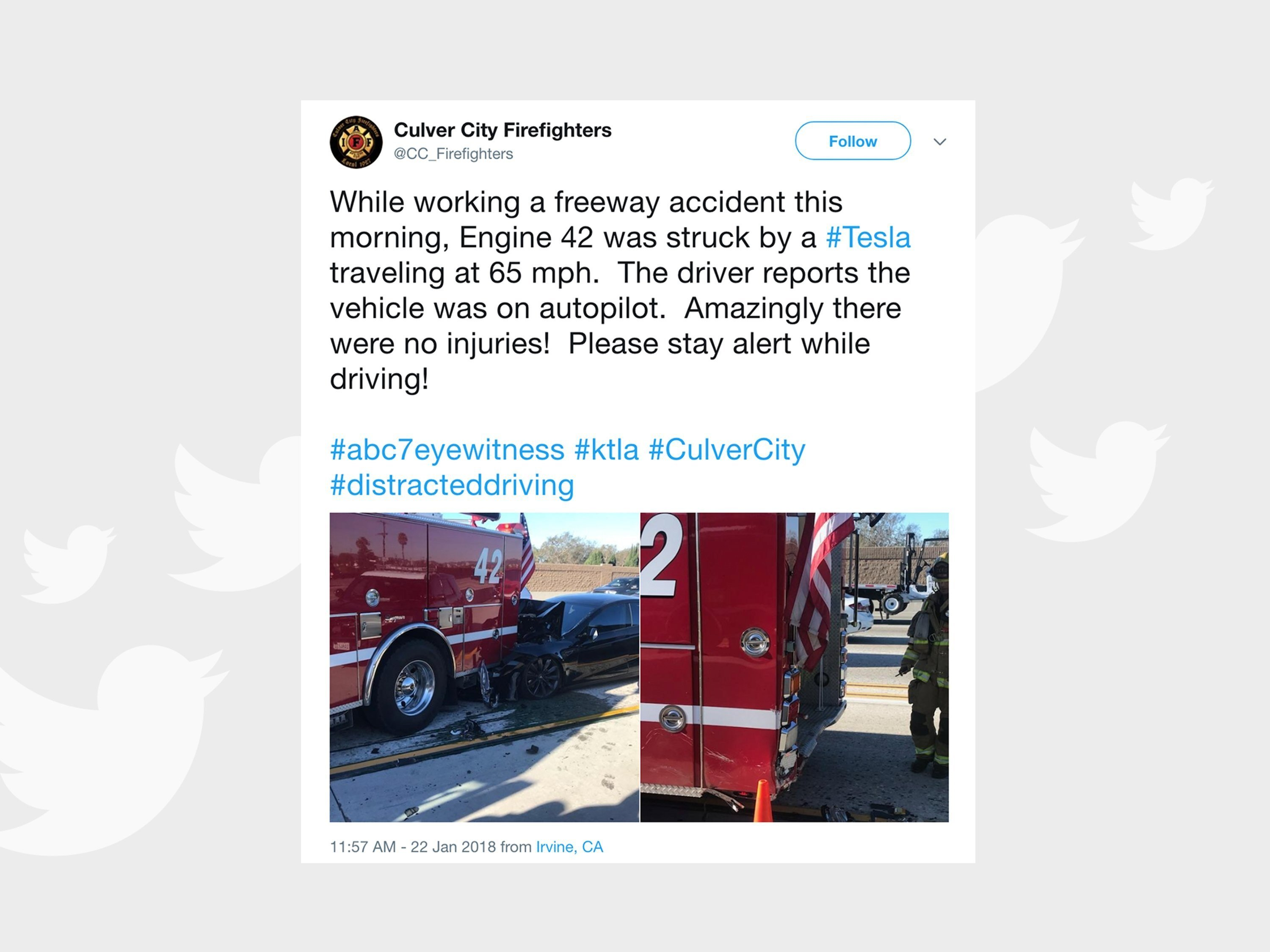 Tesla Crashes Into Fire Truck While Reportedly on Autopilot