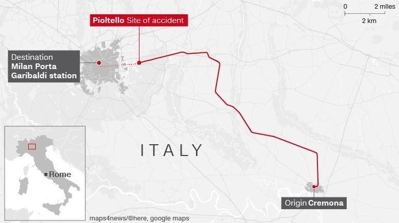 Italian train derails near Milan, two dead