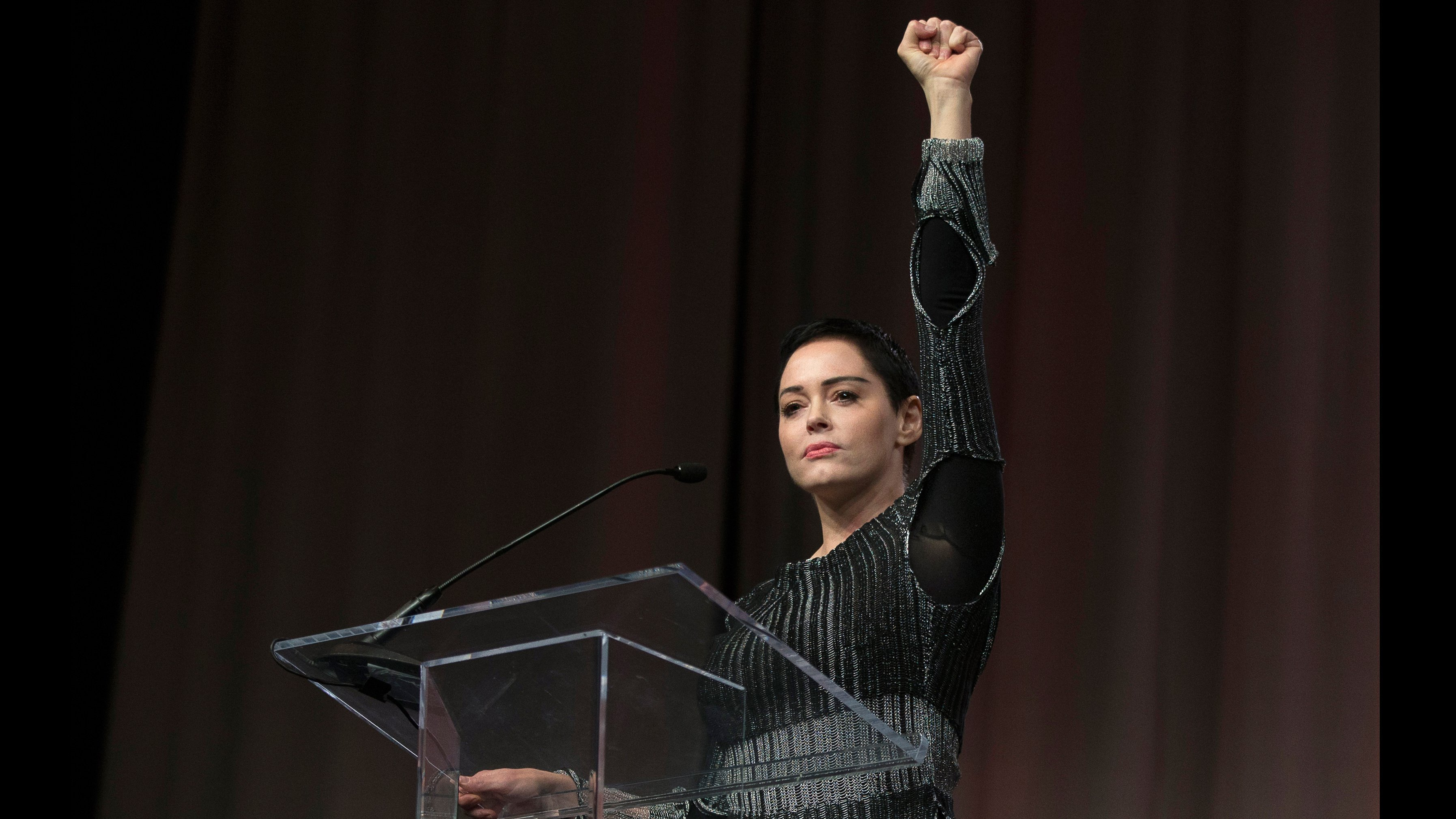 This image is for use with this specific article only** Rose McGowan's bracing brand of activism receives a provocative forum in