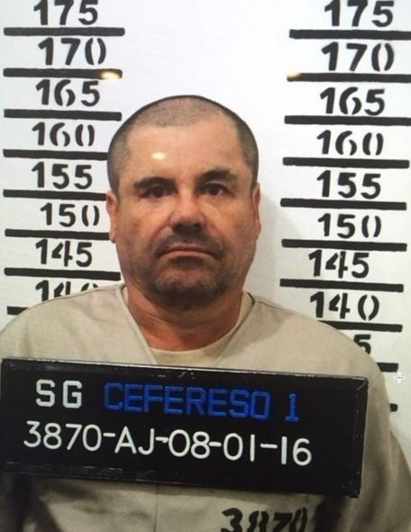 Mugshot of El Chapo after his arrest on January 8, 2016 by the prison he escaped from in summer 2015.