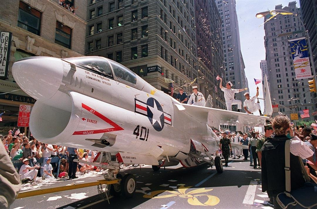 A Navy A-7 Corsair jet was pulled down the streets of New York in June 9, 1991.