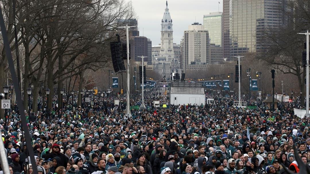 Fans line Benjamin Franklin Parkway on Thursday before a Super Bowl victory parade for the Eagles.