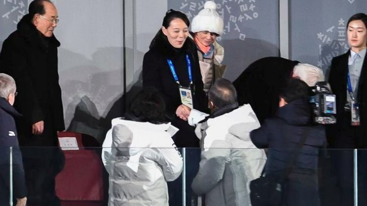 South Korean President Moon Jae-in shook hands with Kim Yo Jong, the sister of North Korean leader Kim Jong Un at the opening of the 2018 Winter Olympics in Pyeongchang.