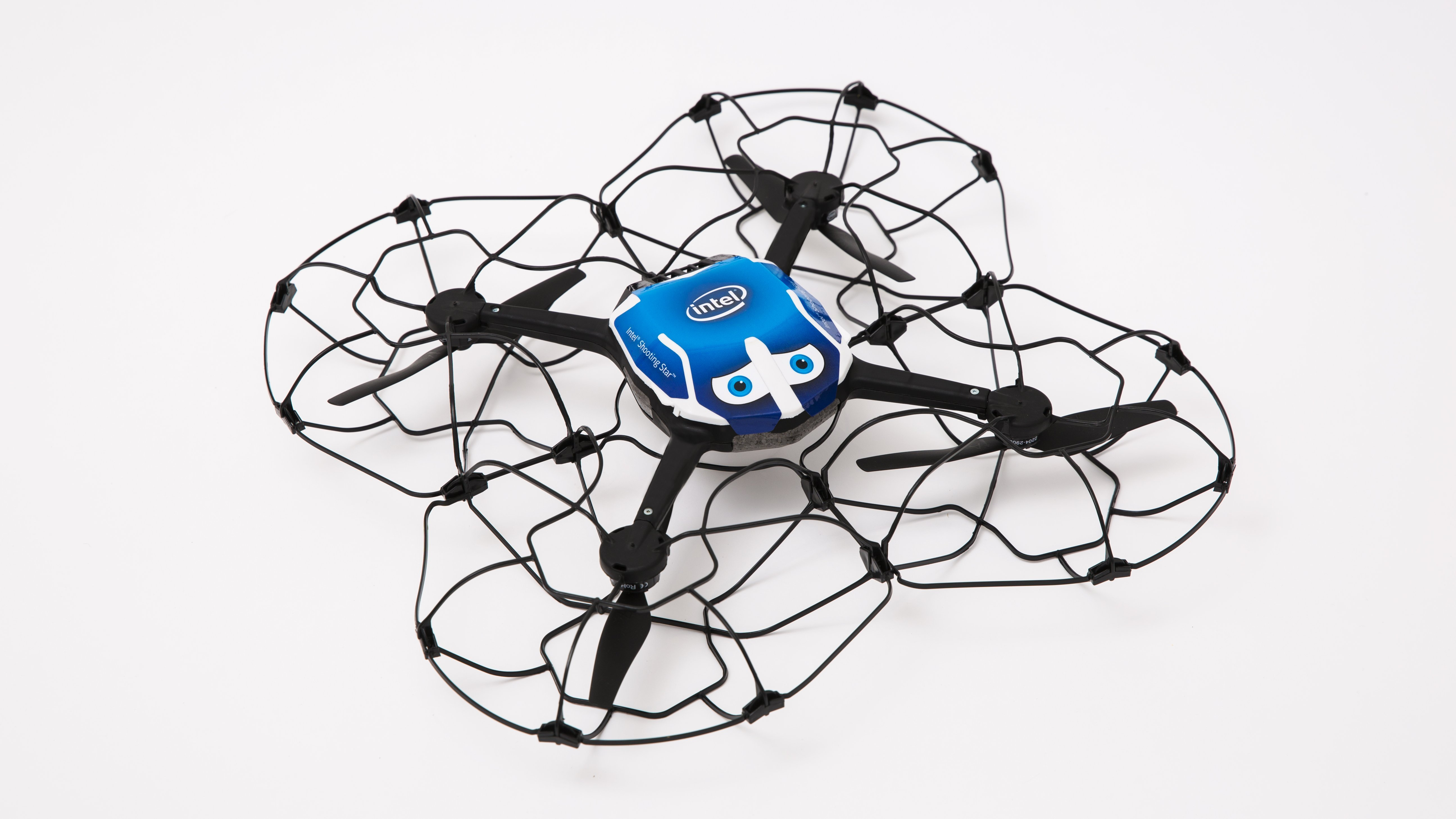 Intel's drones are large LED lights with propellers and sensors attached. They weigh less than a pound.