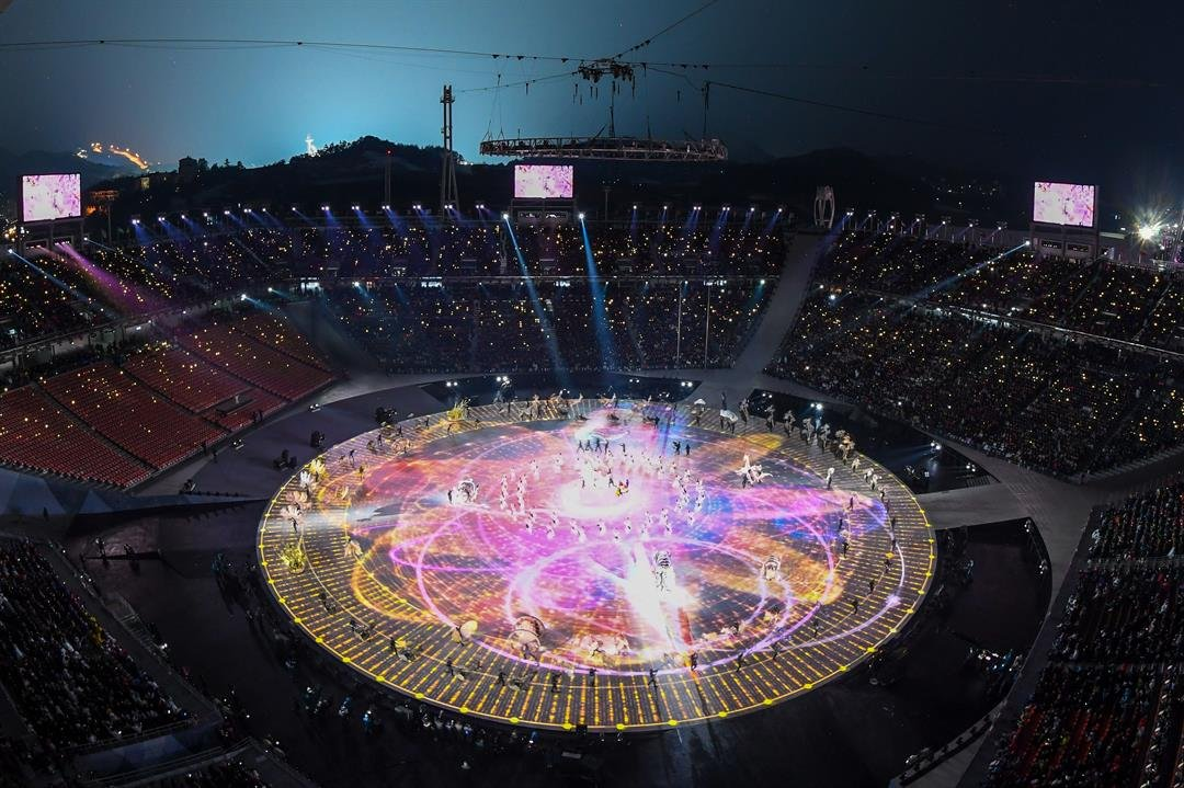 The opening ceremony for the 2018 Winter Olympics was held at Pyeongchang Olympic Stadium, a temporary structure with capacity for 35,000 spectators.  CREDIT: Francois-Xavier Marit/AFP/Getty Images