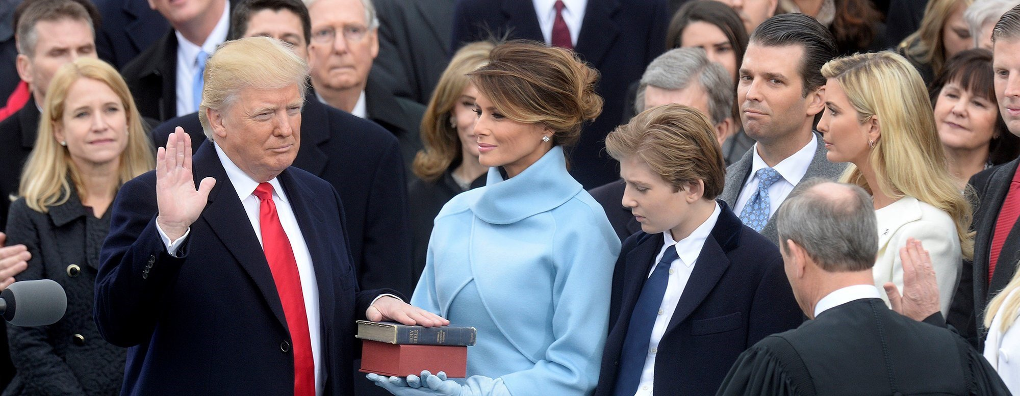 President Donald J. Trump being sworn in as the 45th President of the United States on January 20th, 2017.