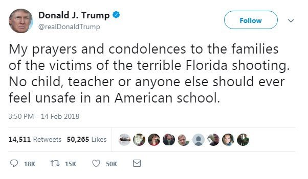 President Donald Trump offered his prayers and condolences Thursday as a school shooting in Parkland, Florida unfolded.
