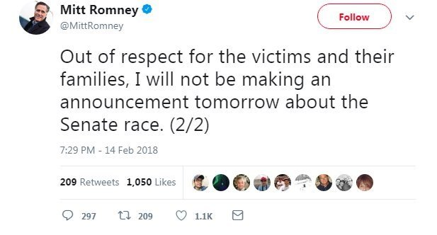 2012 Republican presidential nominee Mitt Romney announced on Twitter Wednesday he is delaying his scheduled announcement about the Utah Senate race, citing the school shooting in Parkland, Florida.