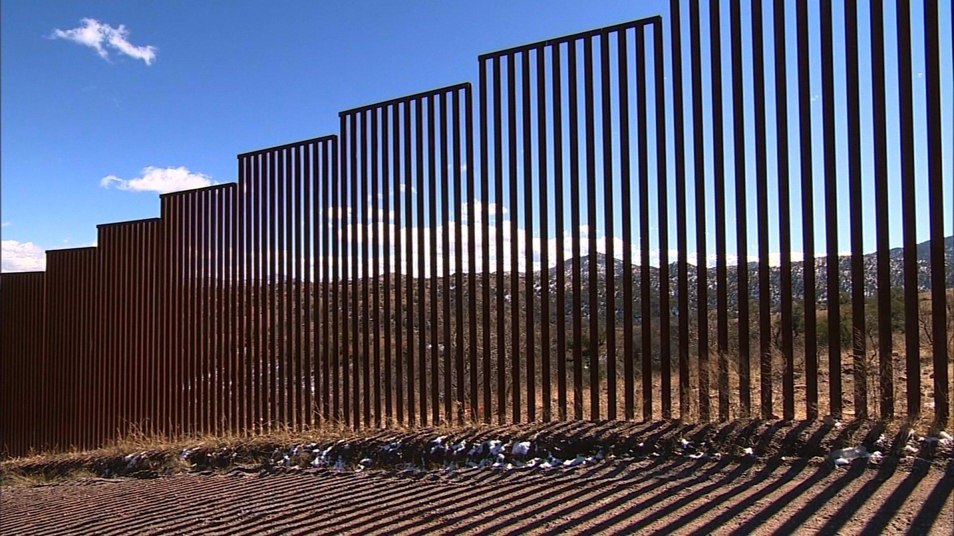 A section of the U.S-Mexico border fence separating Nogales Arizona and Santa Cruz Mexico