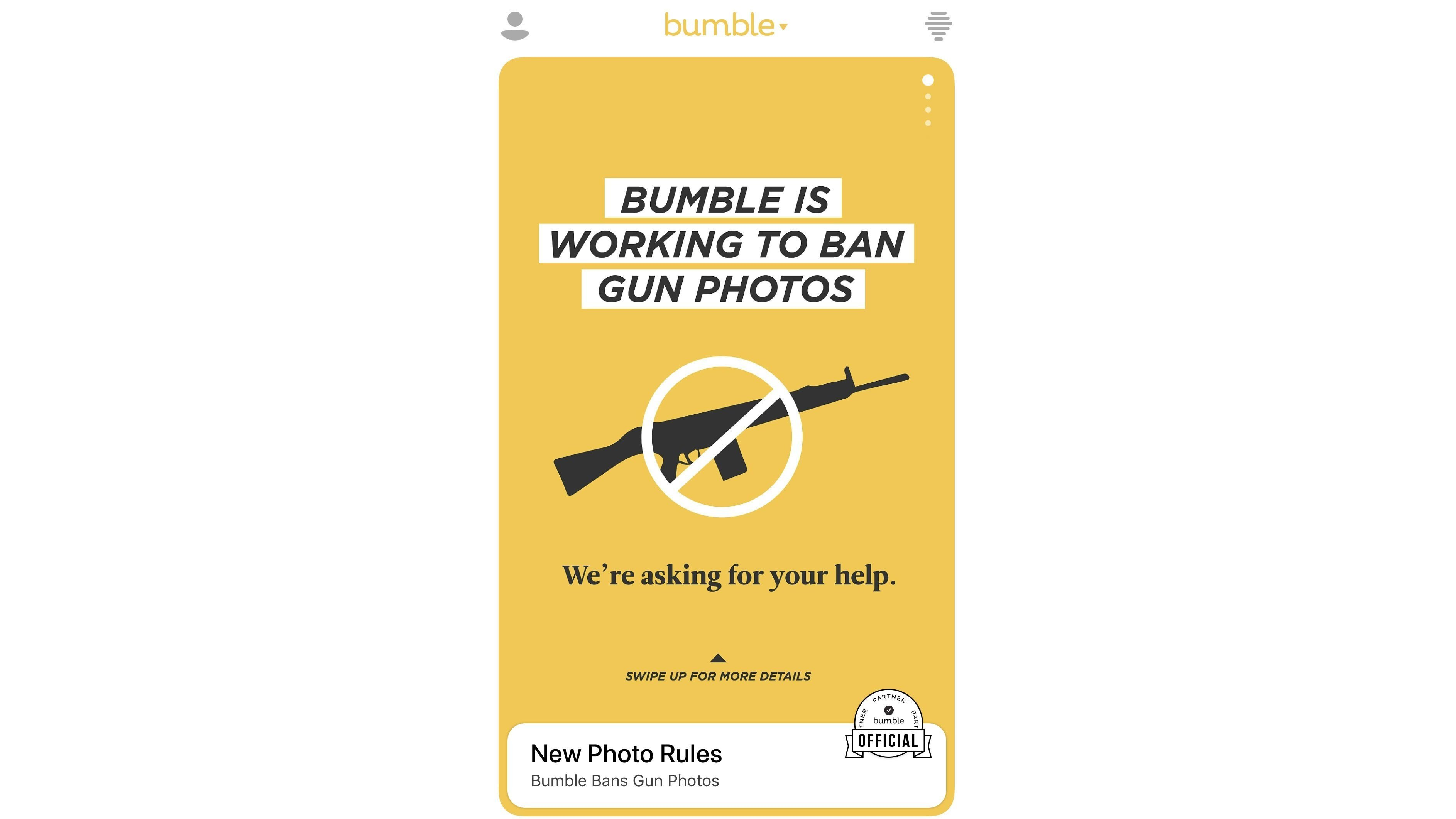 Bumble is banning photos with guns from its platform.