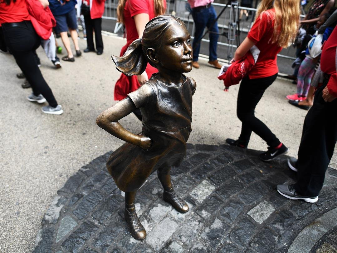 The bronze statue, which appeared one year ago opposite the iconic charging bull near Wall Street, is guaranteed a place only through Thursday â?? International Women's Day.