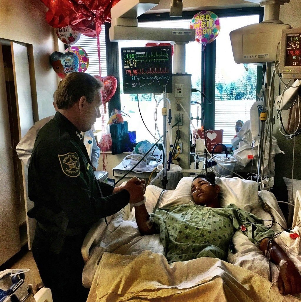 Anthony Borges, 15, who protected his classmates in Florida from gunfire is now in critical condition, a hospital spokeswoman said.