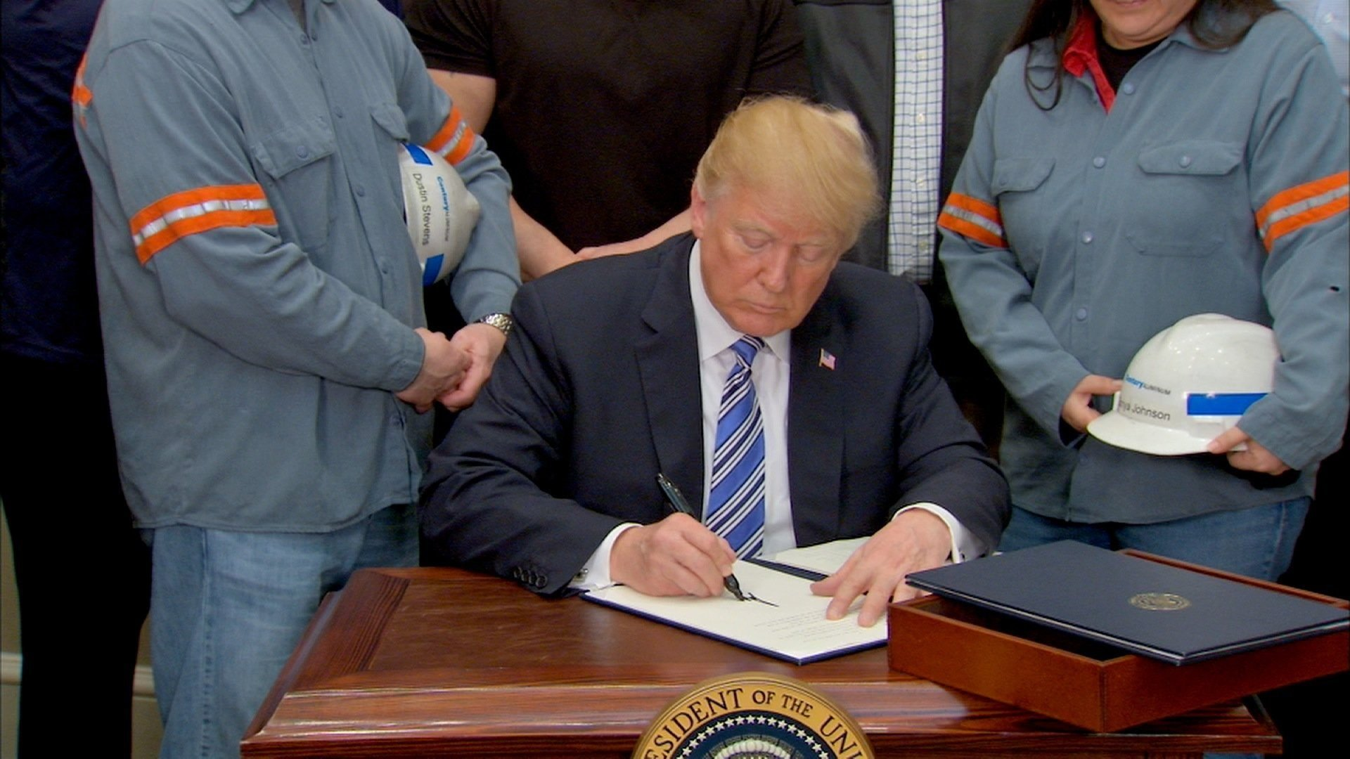 President Trump signed proclamations at the White House Thursday that establish new tariffs on steel and aluminum imports
