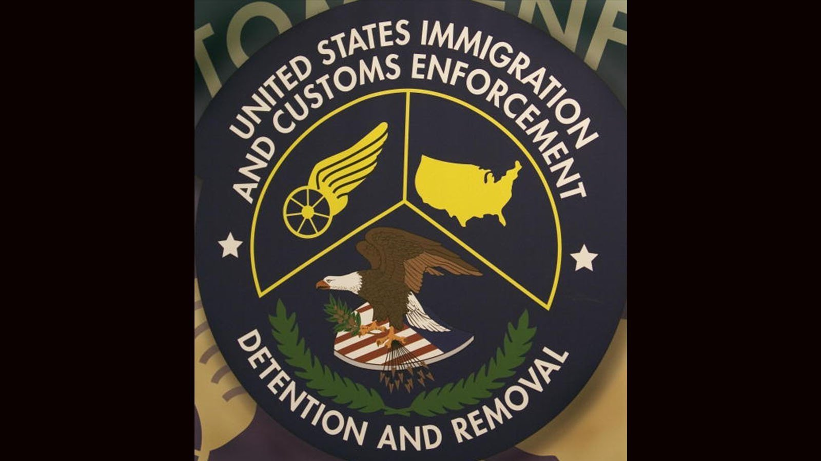 The logo of the US Homeland Security Department of Immigration and Customs Enforcement(ICE) Detention and Removal unit is seen 10 May 2007 the Willacy Detention Cention in Raymondville, Texas.