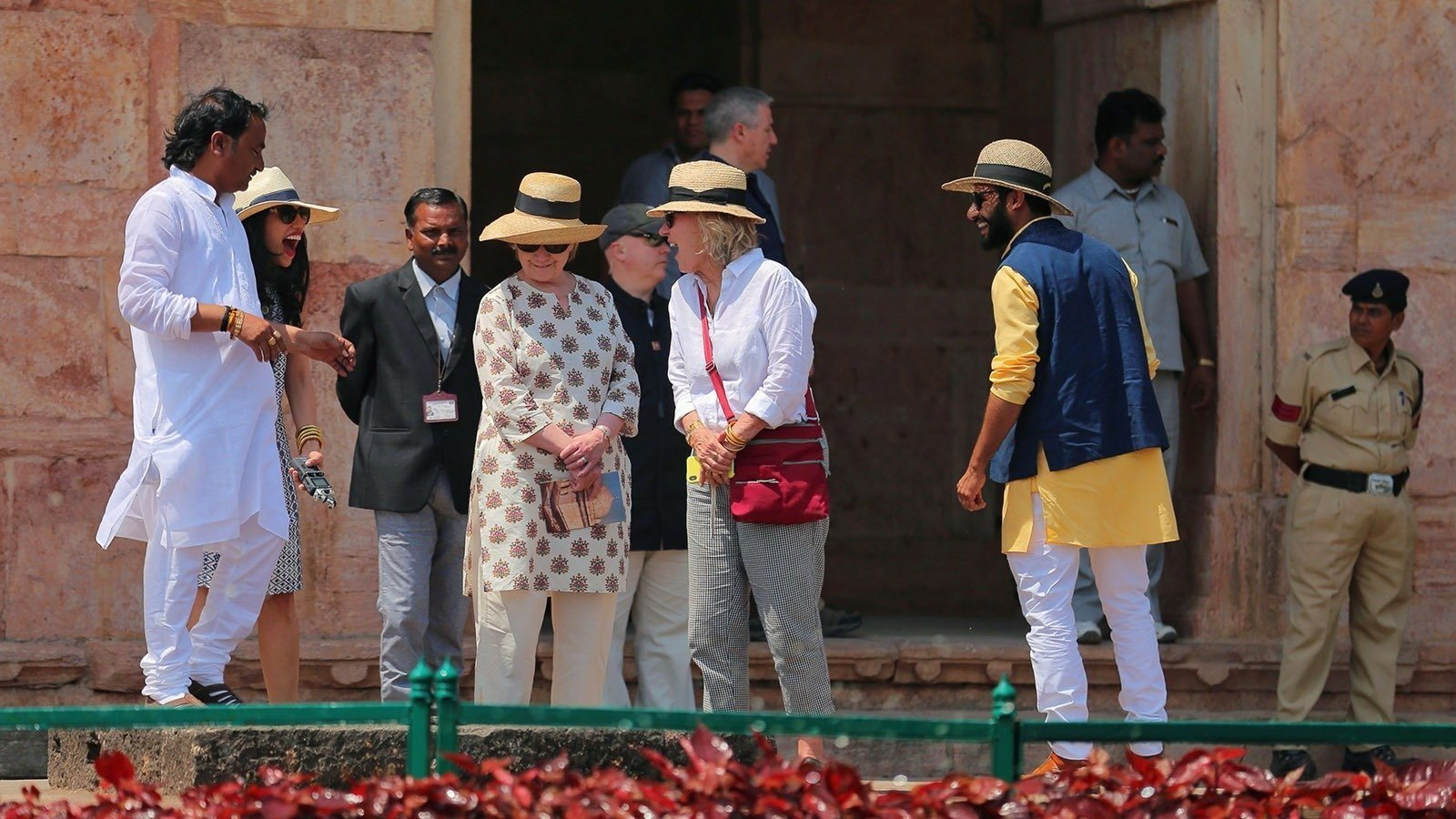 Former US politician Hillary Clinton tours the Jahaj Mahal part of an abandoned royal palace complex while on a personal trip to the ancient city of Mandu in India's Madhya Pradesh state