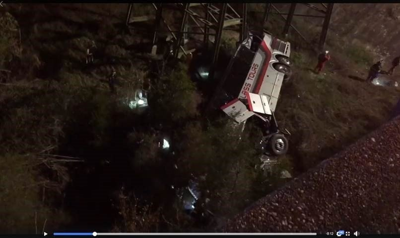 At least one person was killed when a bus carrying Houston-area band students drove into a 50-foot ravine in Alabama.