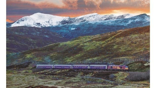 """""""I think the perhaps most romantic, and certainly the longest journey is London to Fort William -- the old Deerstalker, what was called the Deerstalker Express,"""" says Meara. Pictured here: The West Highland Sleeper near Loch Treig at sunset.  CREDIT:..."""