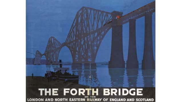 The Forth Bridge was built in 1882 -- this striking poster was designed by Sir Henry George Gawthorn in 1928.  CREDIT: Courtesy Science and Society Picture Library/Amberley Books