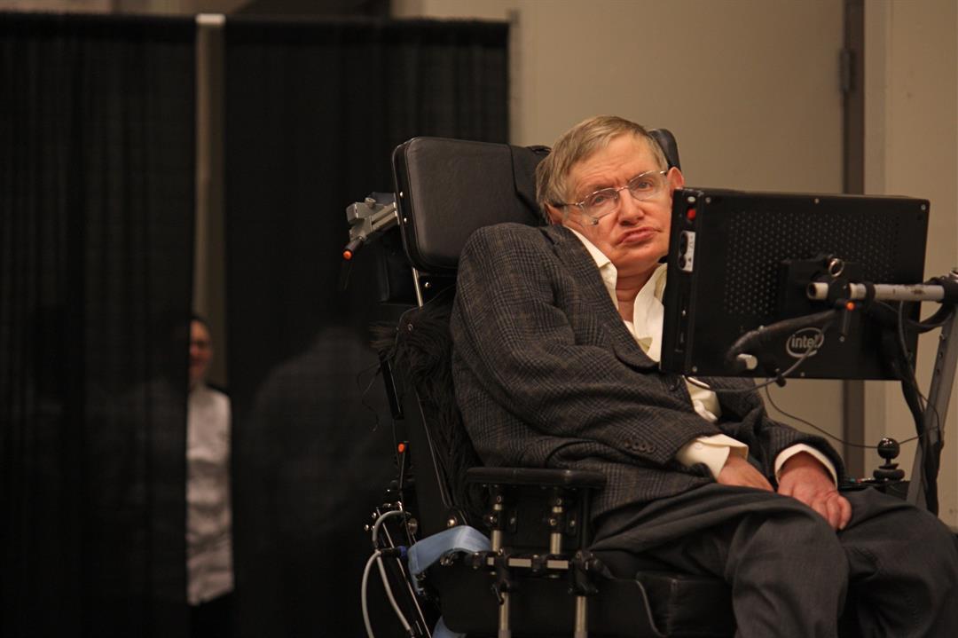 Scientist Stephen Hawking in Pasadena, California.