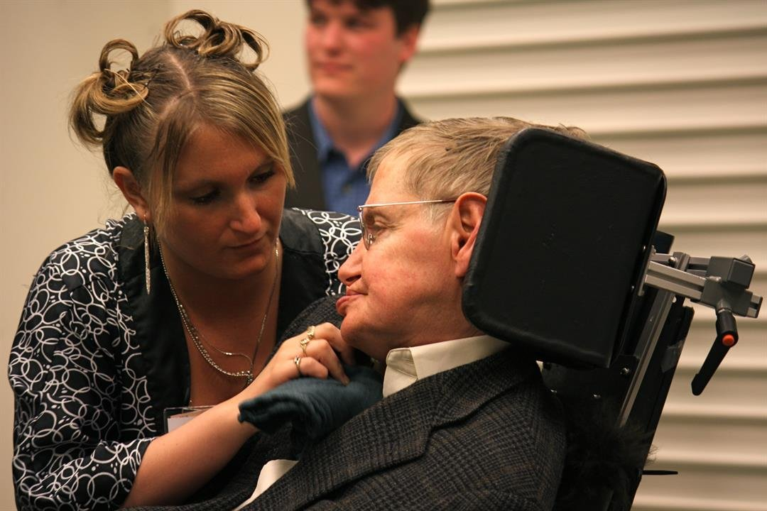 Scientist Stephen Hawking and his attendant, Niki Pidgeon, in Pasadena, California.