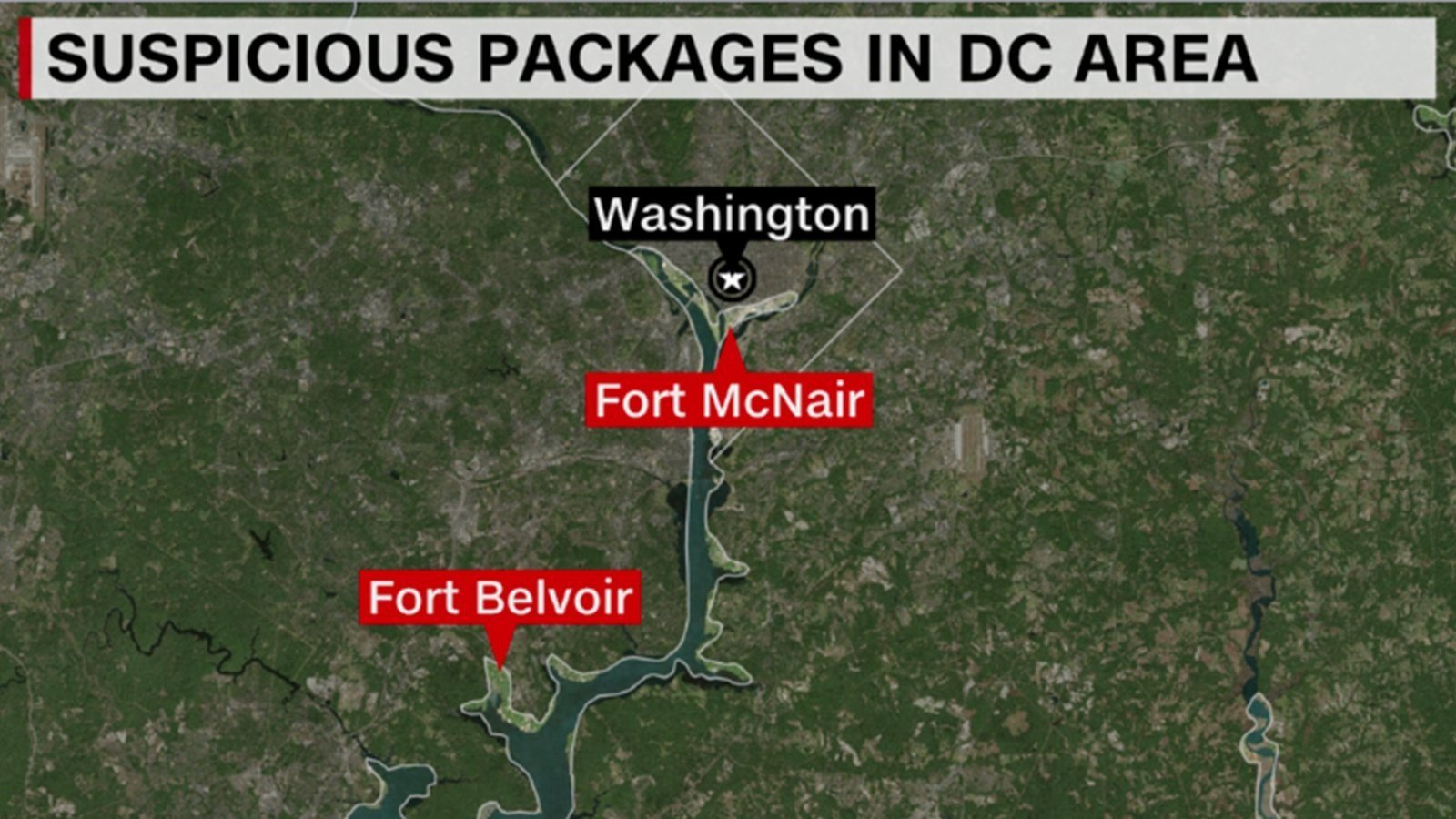 Packages with explosive material sent to military installations in DC area