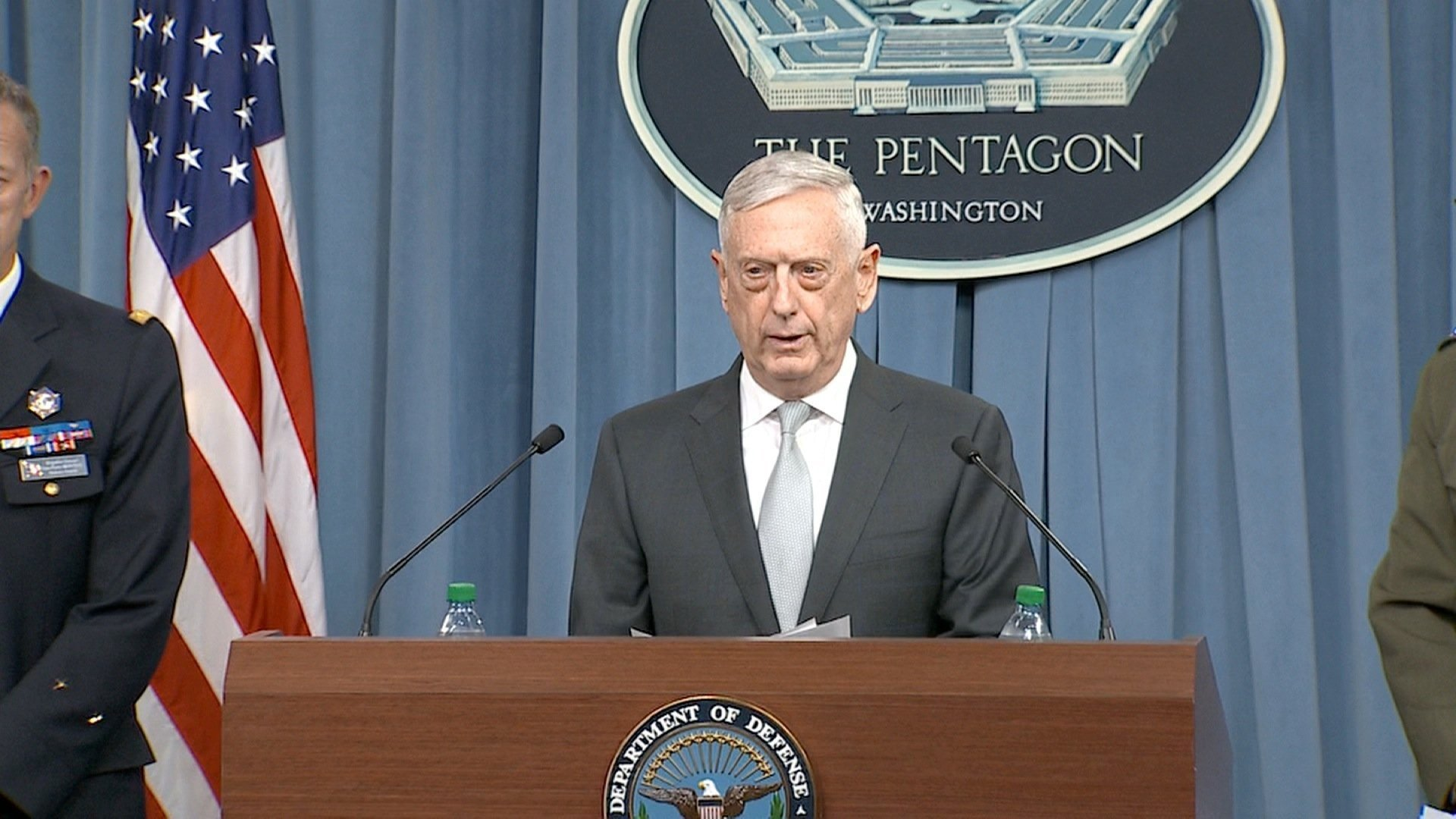 Defense Secretary James Mattis speaks during a Pentagon briefing after President Trump announced U.S. strikes on Syria.