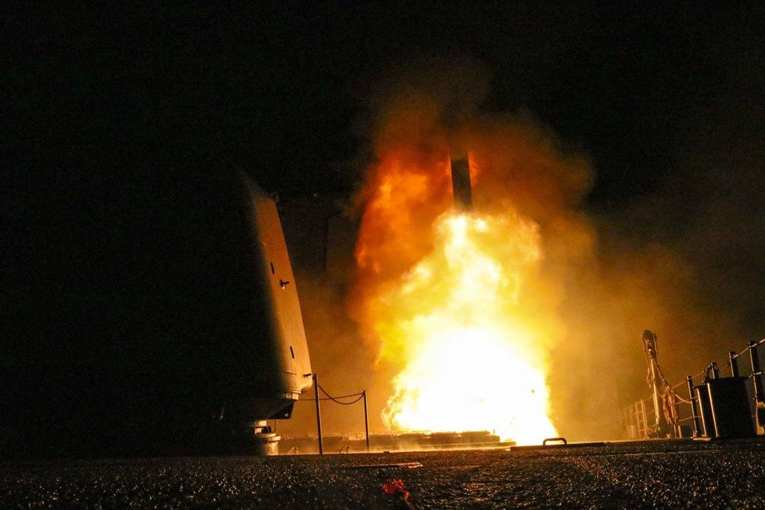 Seen here is a Defense Department photo of the missile strikes against Syria. The guided missile cruiser USS Monterey fired a Tomahawk missile in the U.S. 5th Fleet area of operations on April 14, 2018.