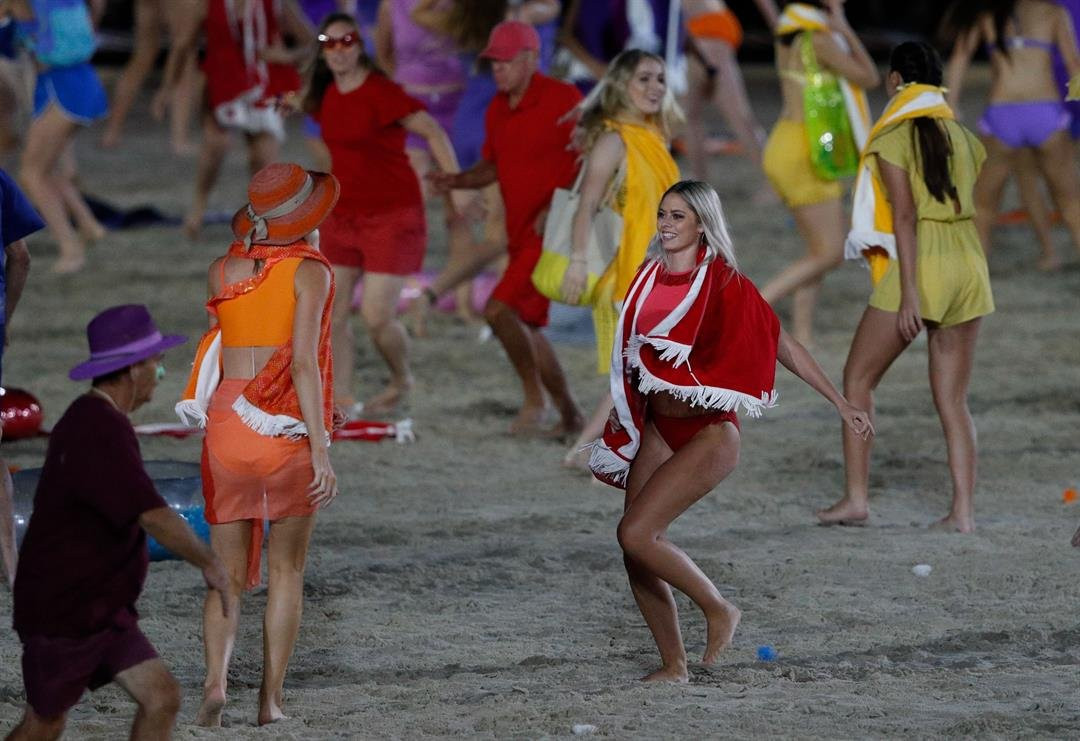 Performers and dancers during the opening ceremony of the Commonwealth Games.  CREDIT: Adrian Dennis/AFP/AFP/Getty Images