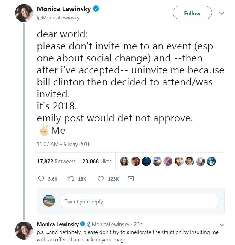 Lewinsky Says Event Invite Was Rescinded Due to Bill Clinton