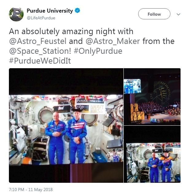Andrew Feustel, who's on the ISS as part of Expedition 55/56, was beamed into the commencement program via live video so other graduates could watch the zero-gravity hooding ceremony, according to the Indiana university.