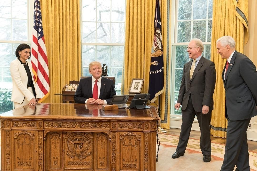 President Donald Trump shares a laugh with (clockwise from left) Ms.Seema Verma, Administrator of the Centers for Medicare and Medicaid Services, Secretary Tom Price, U.S. Secretary of Health and Human Services, and Vice President Mike Pence on...