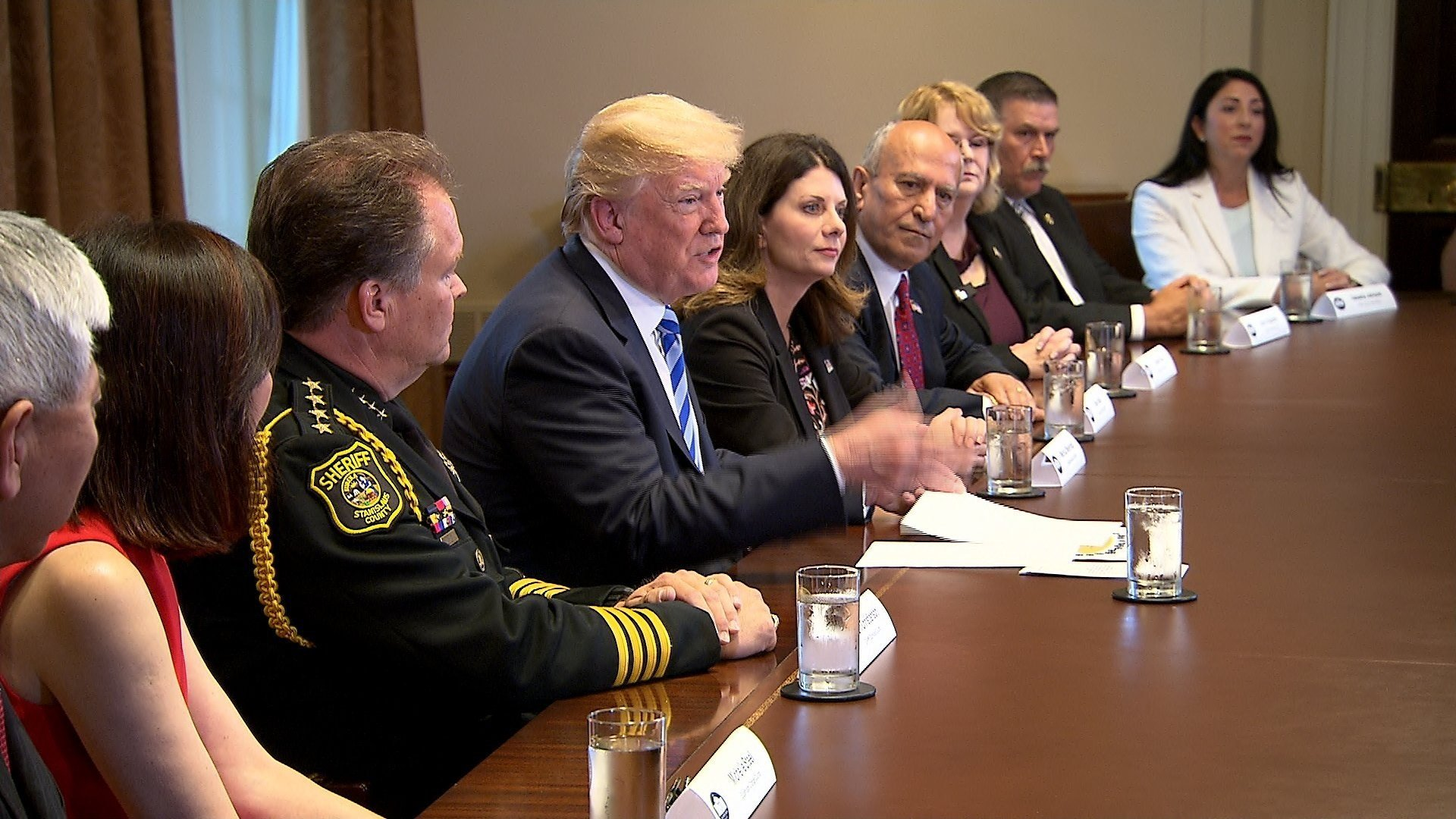 President Donald Trump blamed Democrats for immigration laws that force federal immigration agents to break up families during a roundtable to discuss California sanctuary state policies.