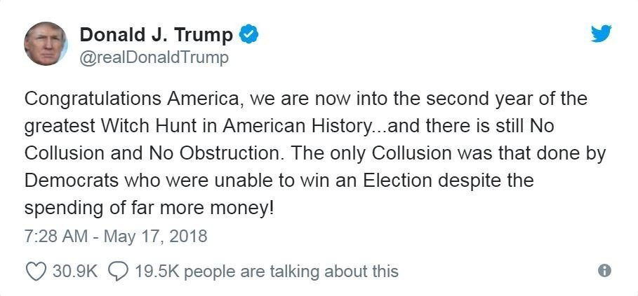 President Donald Trump sarcastically congratulated America Thursday on the one-year anniversary of special counsel Robert Mueller's probe into Russian meddling in the 2016 election, maintaining that there was no collusion between his campaign and the...
