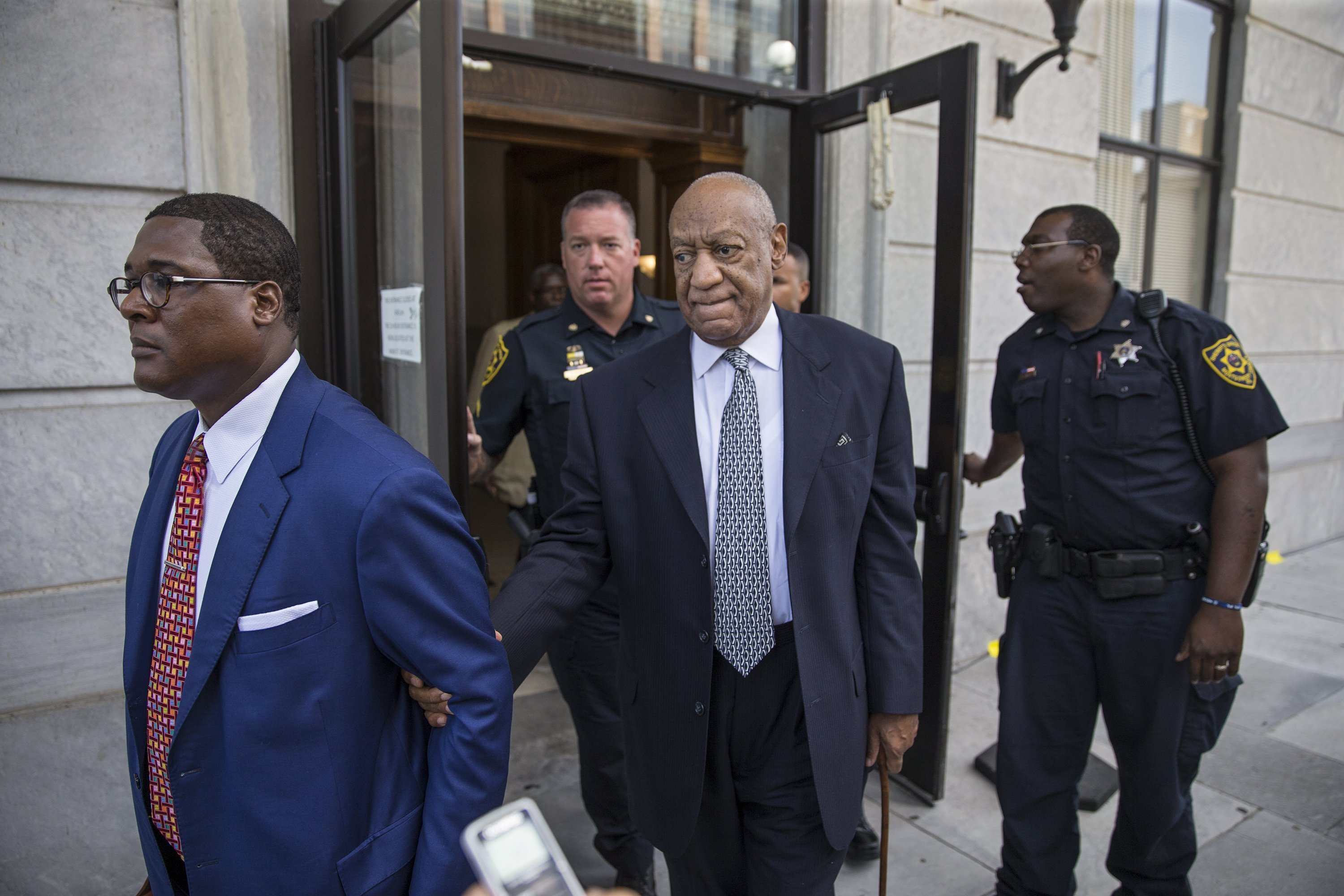 Bill Cosby is seen here with his publicist and his new legal team on Tuesday, August 22, 2017.