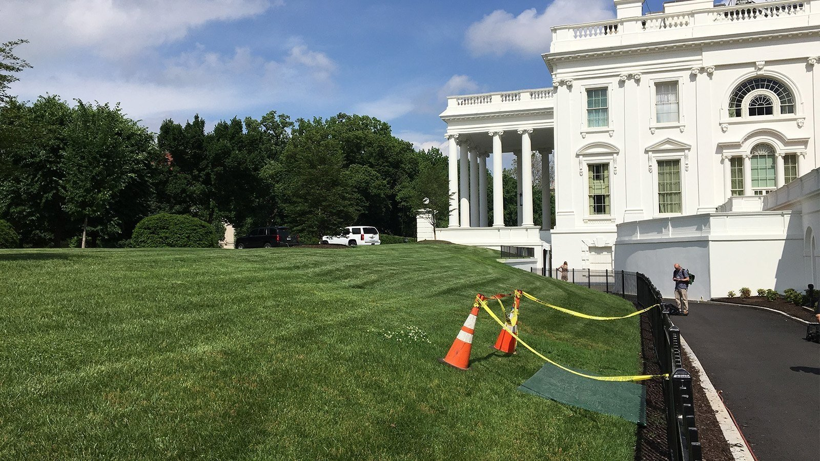 Eyewitnesses first saw the sinkhole on the grassy North Lawn on Saturday, following a week of nearly constant rain in Washington.