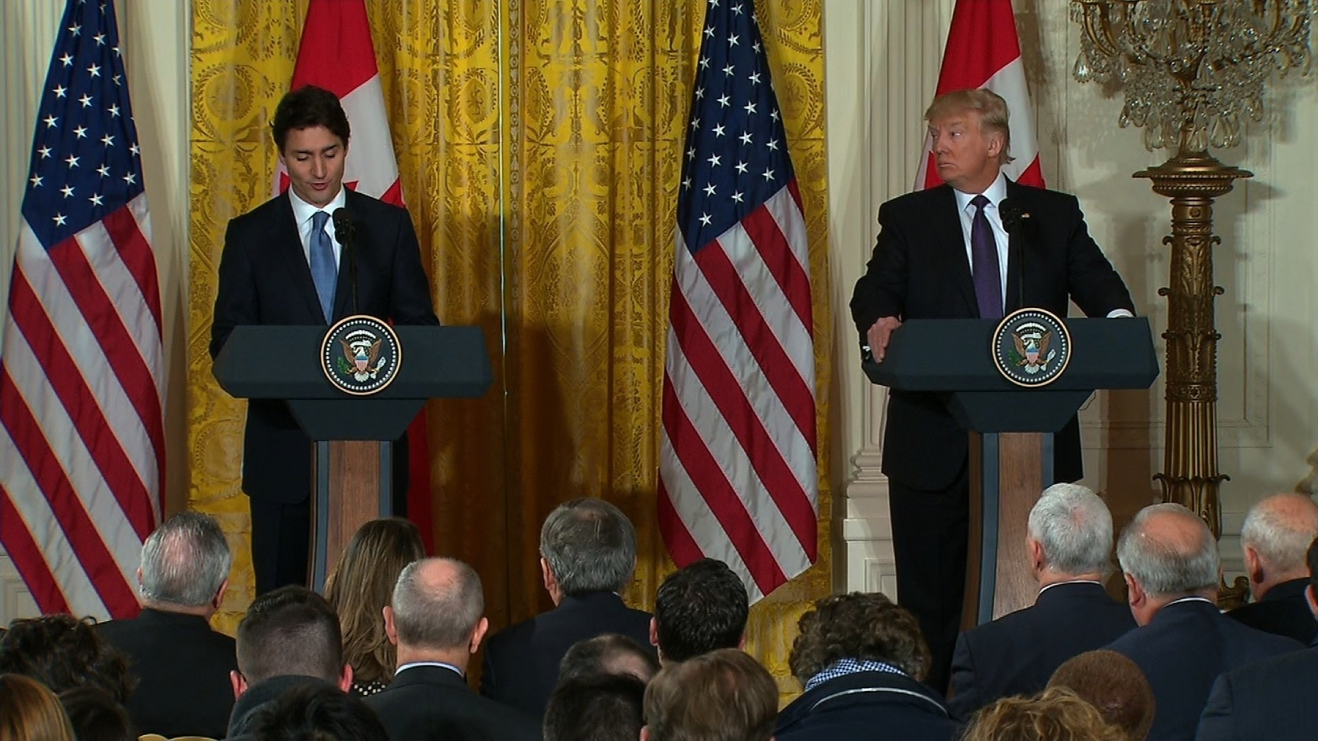 When asked by Trudeau why Trump cited national security threats while emplacing tariffs on Canada, Trump said