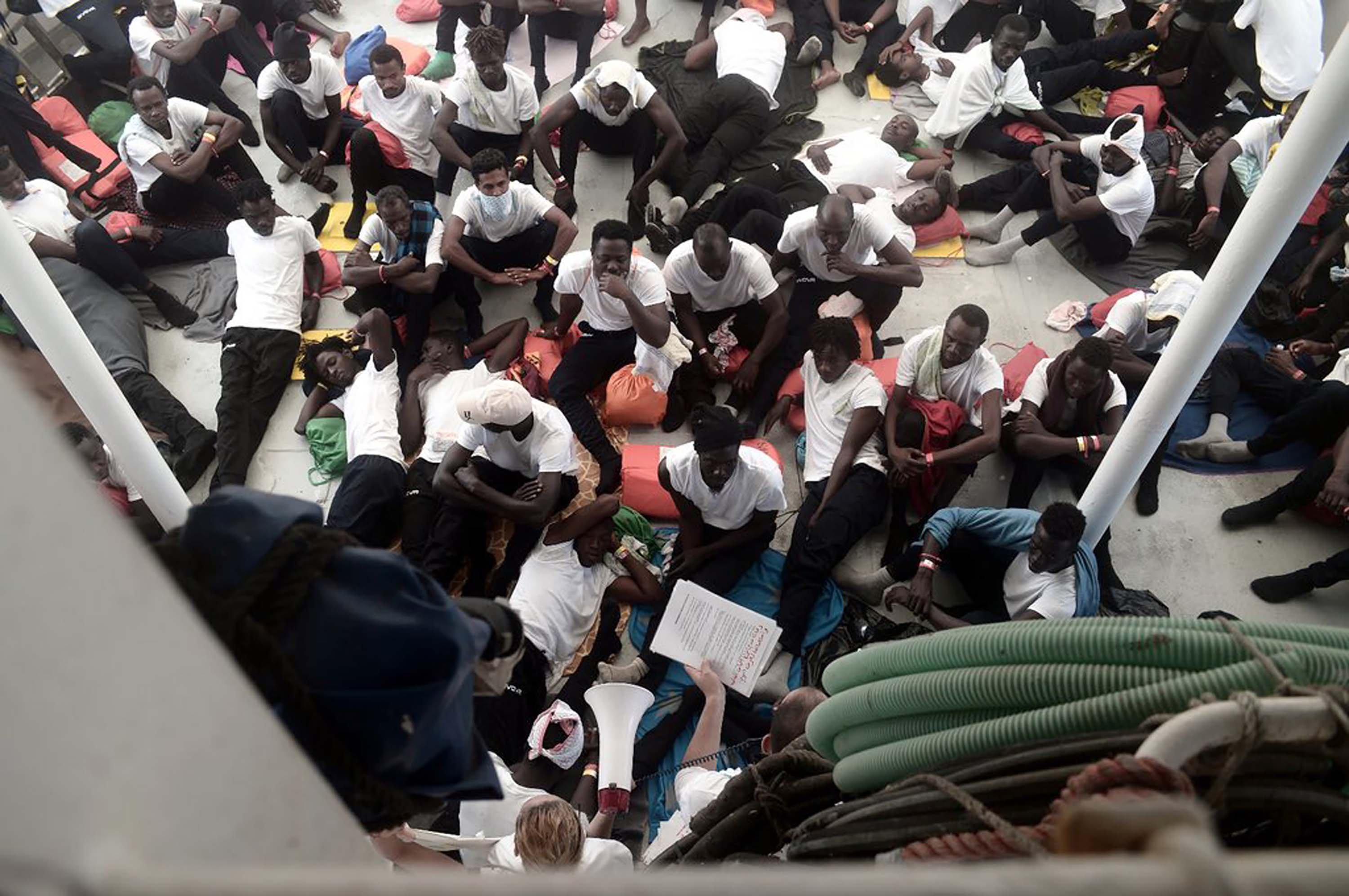 Migrants on board the stranded Aquarius rescue ship.