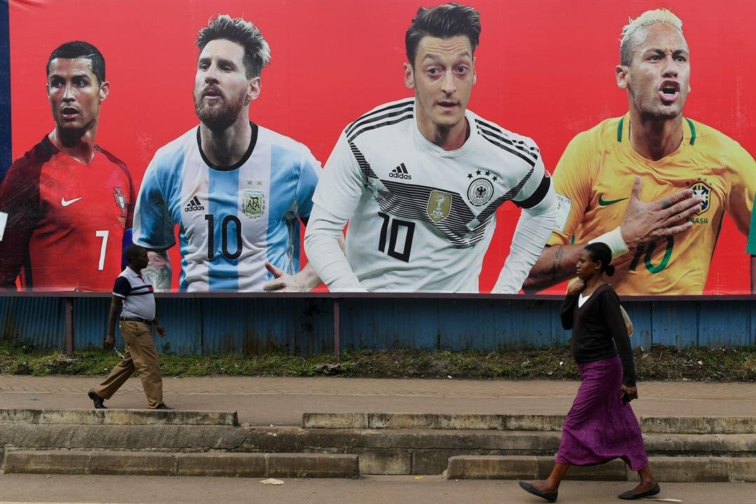 Pictured on a billboard in Nairobi, Kenya (from left to right): Ronaldo, Messi, Ozil and Neymar will headline the World Cup in Russia.