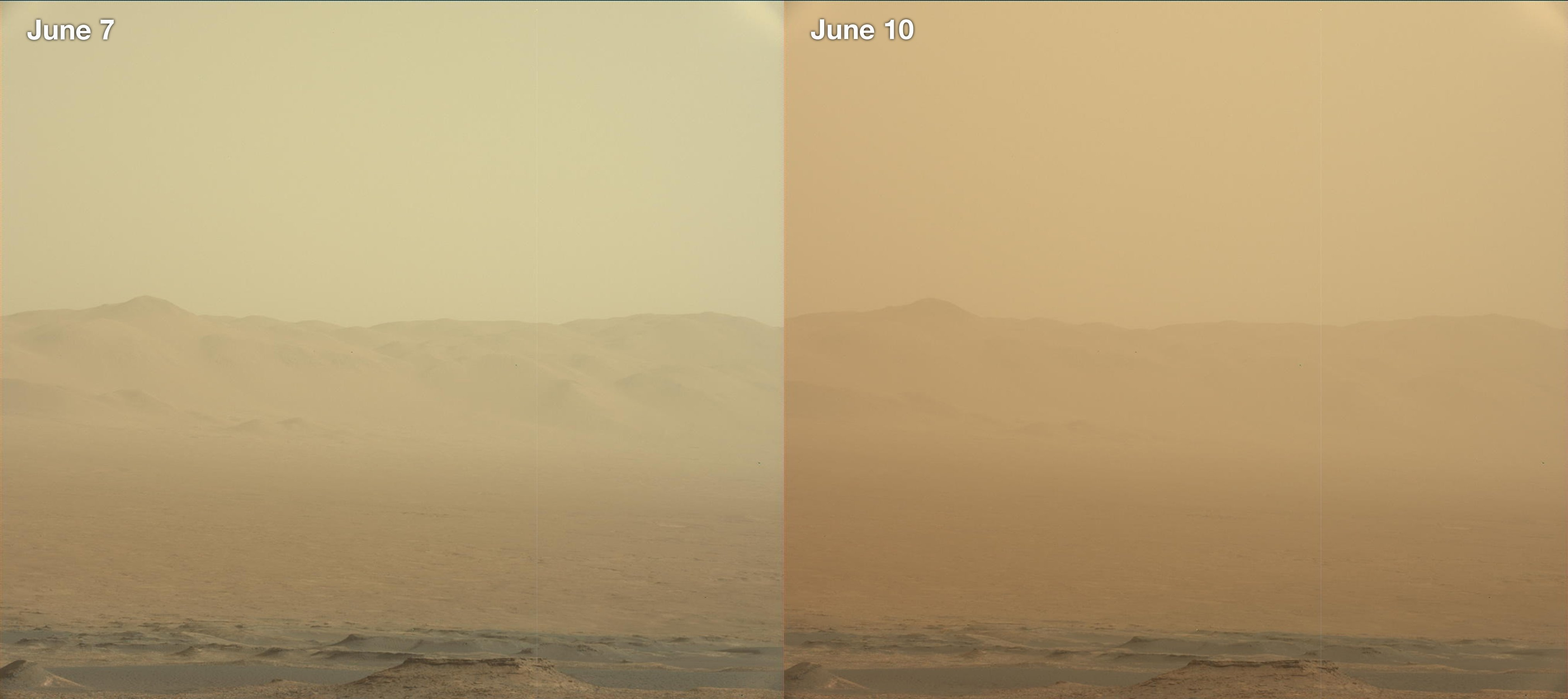 These two views from NASA's Curiosity rover -- from June 7, left, and June 10 -- show how dust has increased over three days from a major Martian dust storm.