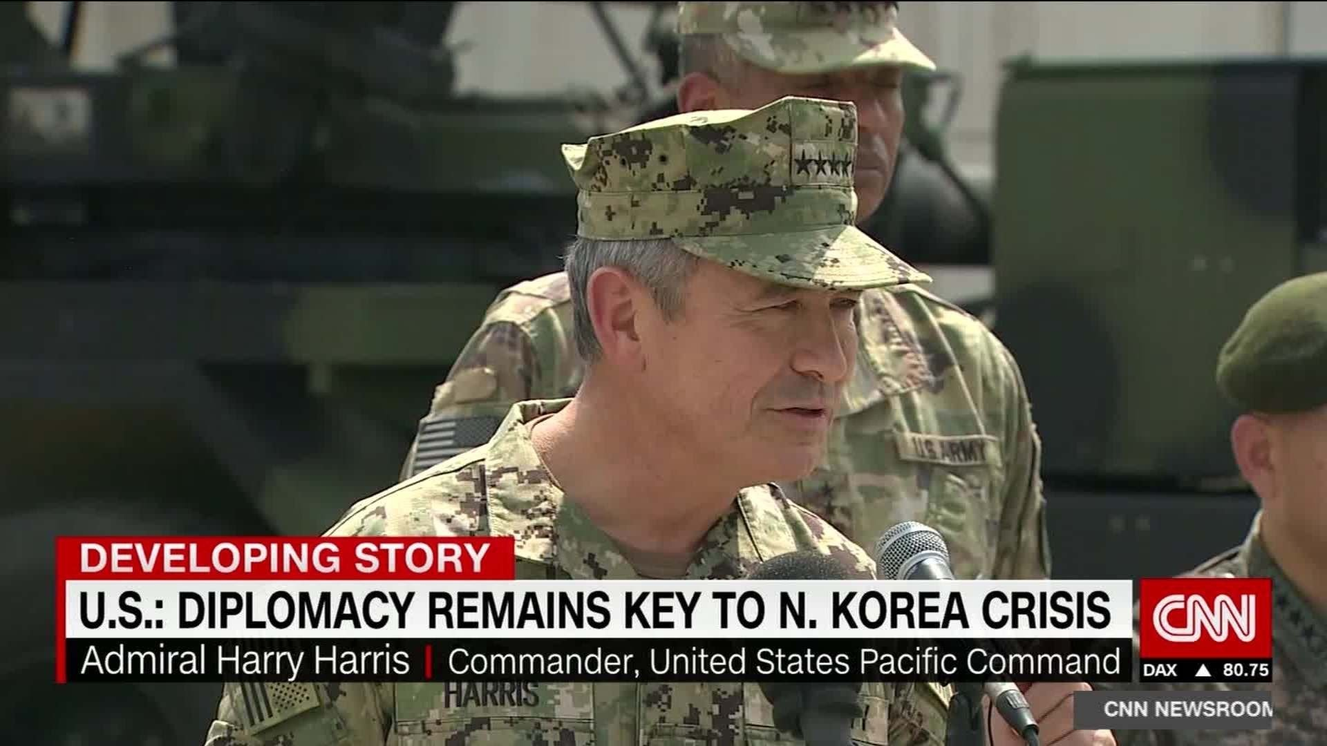 "Harry Harris, the Trump administration's nominee to be ambassador to South Korea, said North Korea continues to be a nuclear threat and that major military exercises should be paused to give Kim Jong Un a chance to prove whether he is ""serious."""