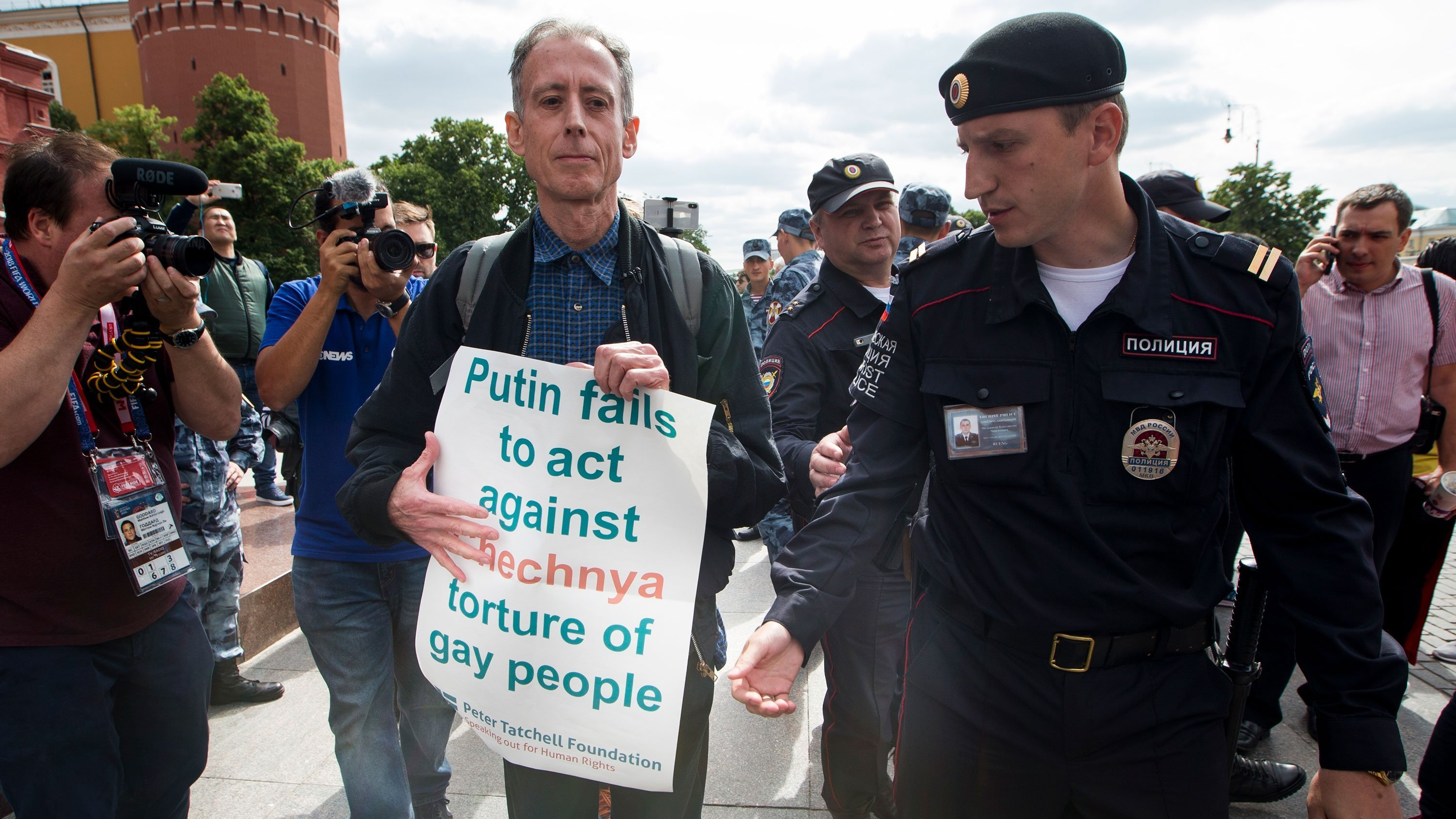 UK-based gay rights activist Peter Tatchell was briefly detained by police in Moscow on the opening day of the month-long World Cup soccer tournament in Russia, according to his official Twitter account.