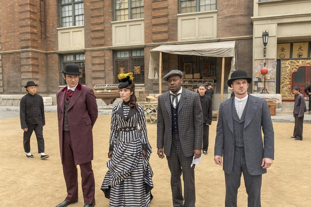 "Goran Visnjic, Abigail Spencer, Malcolm Barrett, and Matt Lanter in an episode of NBC's ""Timeless."""