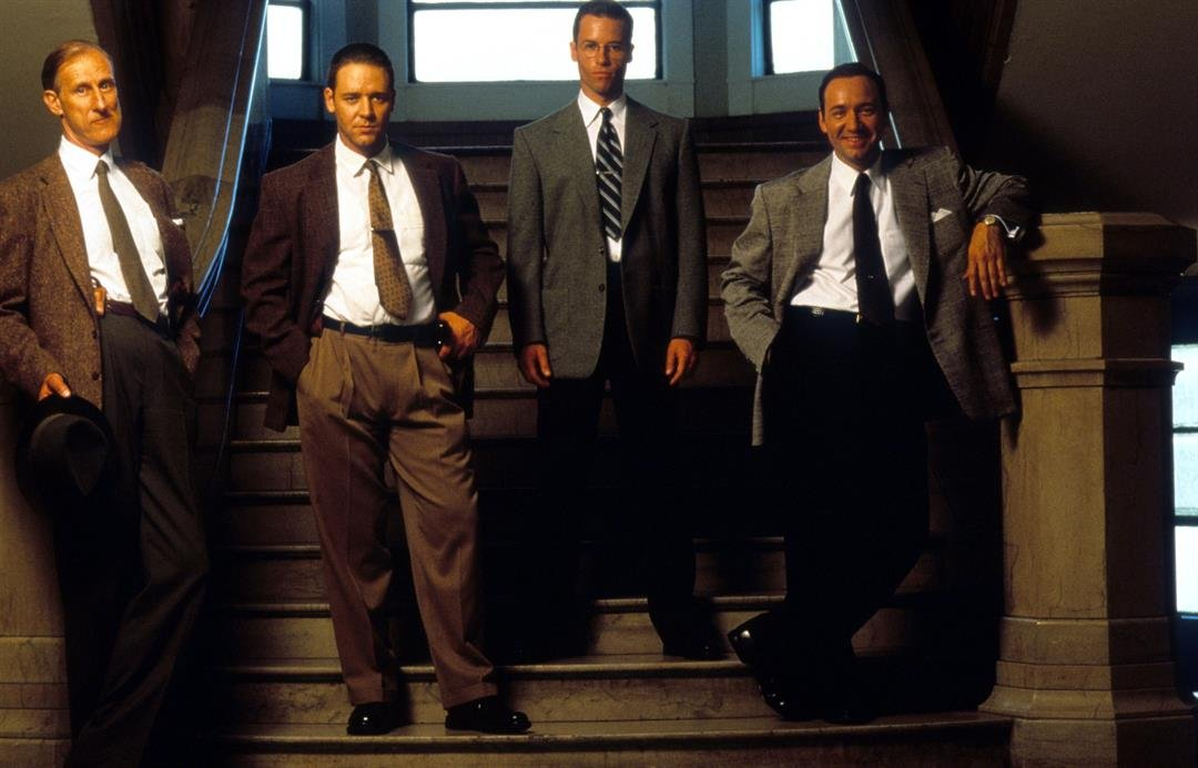 James Cromwell, Russell Crowe, Guy Pearce and Kevin Spacey in publicity portrait for the film 'L.A. Confidential', 1997.