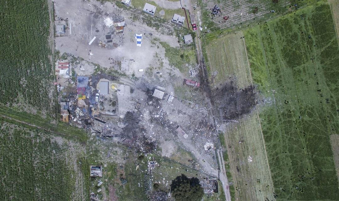 Aerial view shows devastation at warehouses in Tultepec.