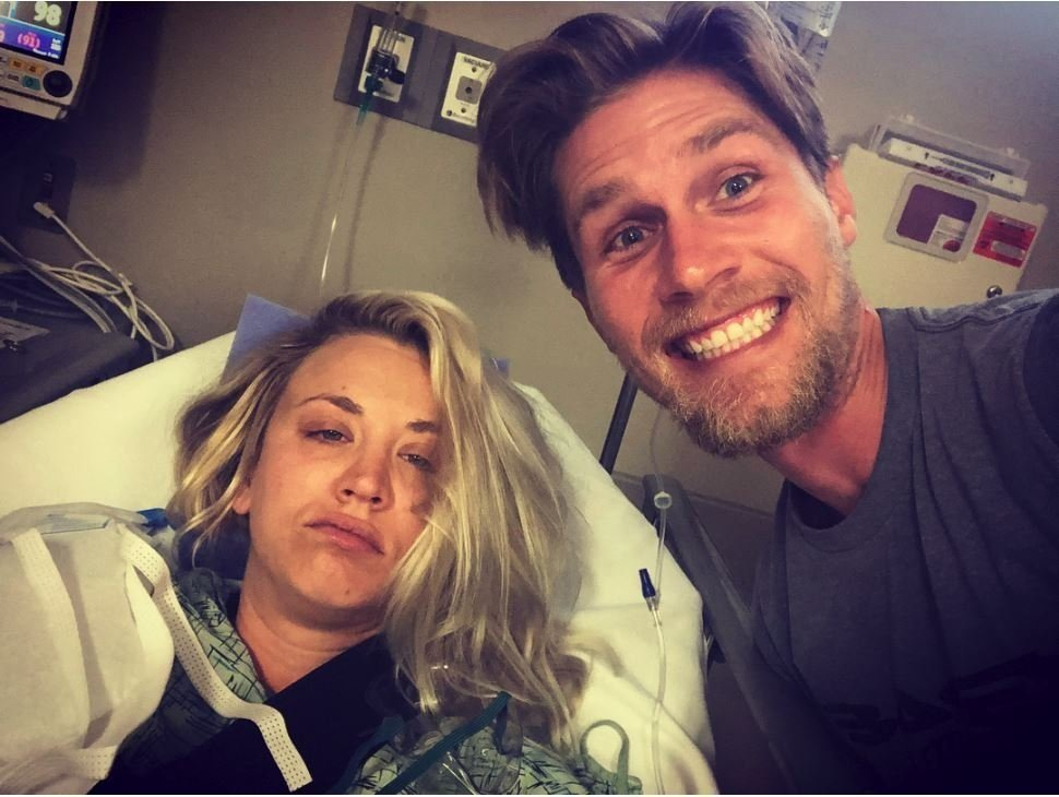 Kaley Cuoco undergoes shoulder surgery on her honeymoon.