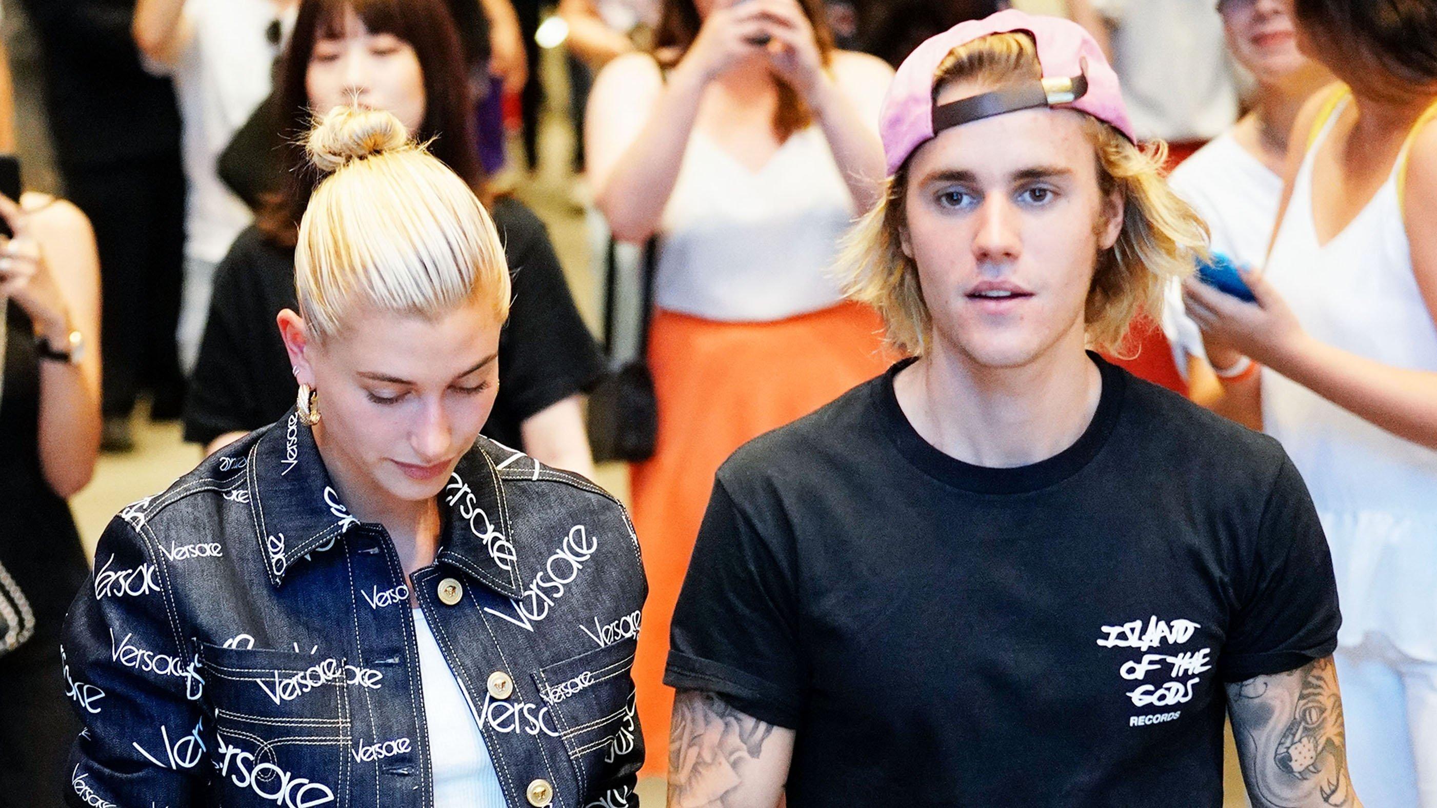 Justin Bieber and Hailey Baldwin in New York's Dumbo neighborhood on July 5.