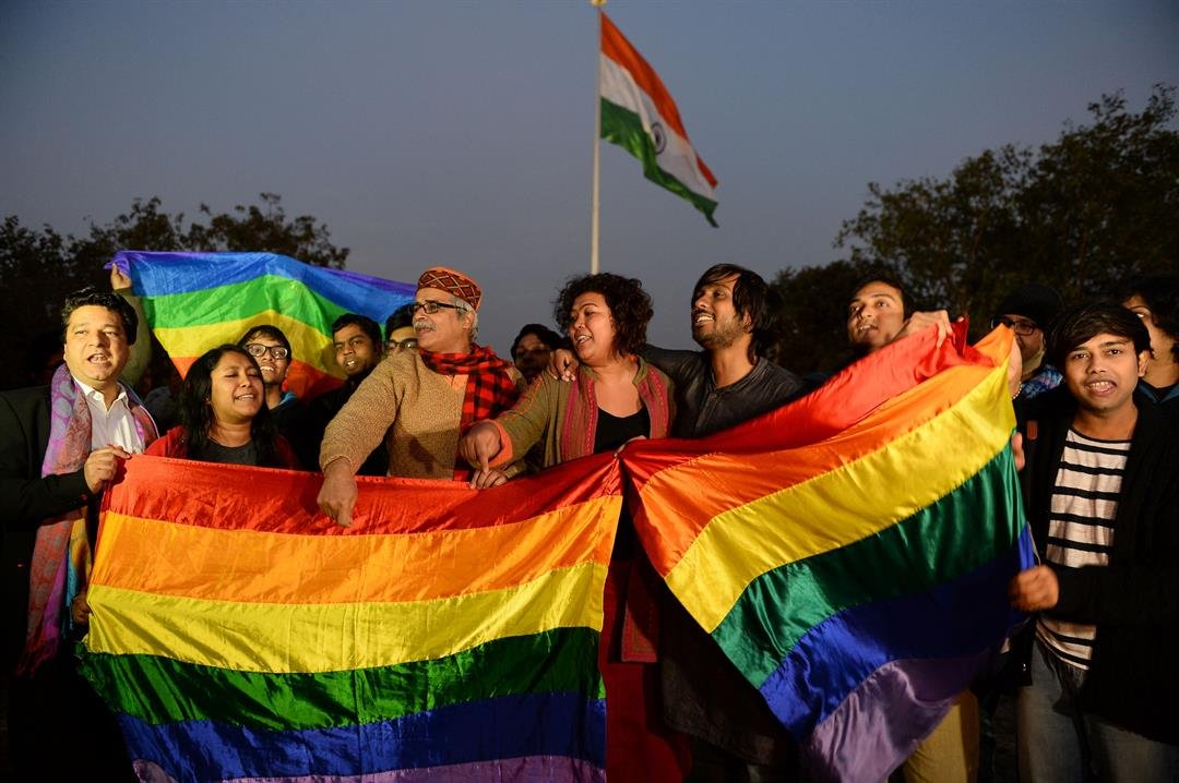 Indian gay-rights activists celebrate in 2016 after the country's Supreme Court agreed to review a decision that criminalizes gay sex.
